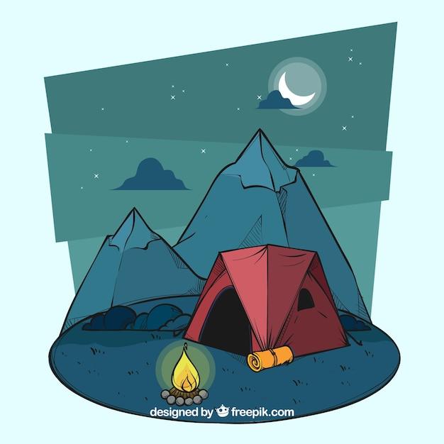 手描きの夏のキャンプの背景 Premiumベクター