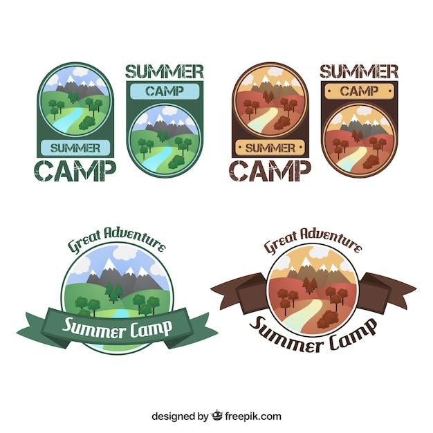 Hand Drawn Summer Camp Logo Collection Vector