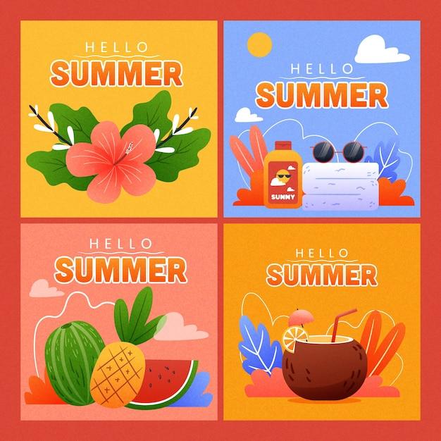 Concetto di raccolta di carte estate disegnati a mano Vettore gratuito