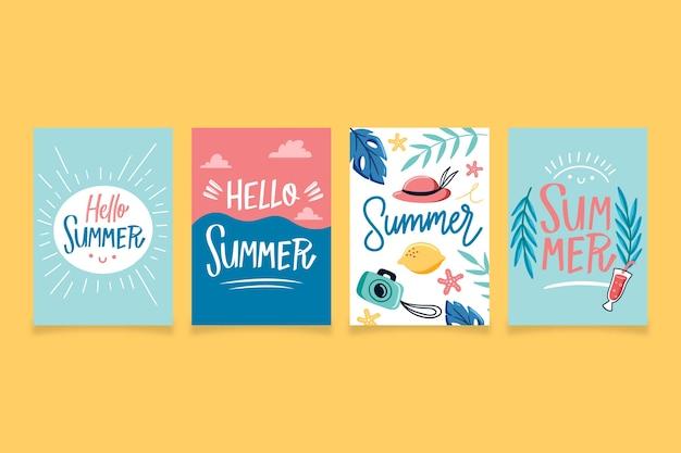 Modello di raccolta carta estate disegnati a mano Vettore gratuito