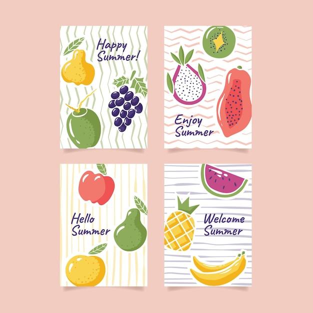 Modello di raccolta carta estate disegnata a mano Vettore gratuito