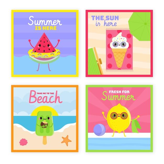 Tema collezione di carte estate disegnati a mano Vettore gratuito