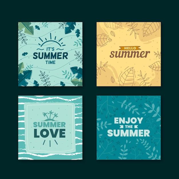 Tema della collezione di carte estive disegnate a mano Vettore gratuito