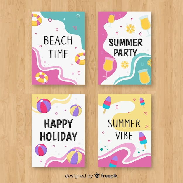 Hand drawn summer card collection Free Vector