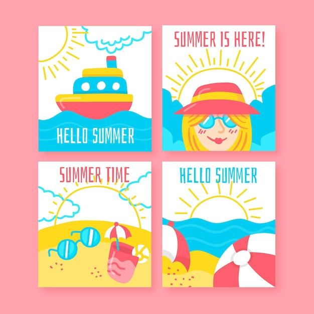 Collezione di carte estive disegnate a mano Vettore gratuito