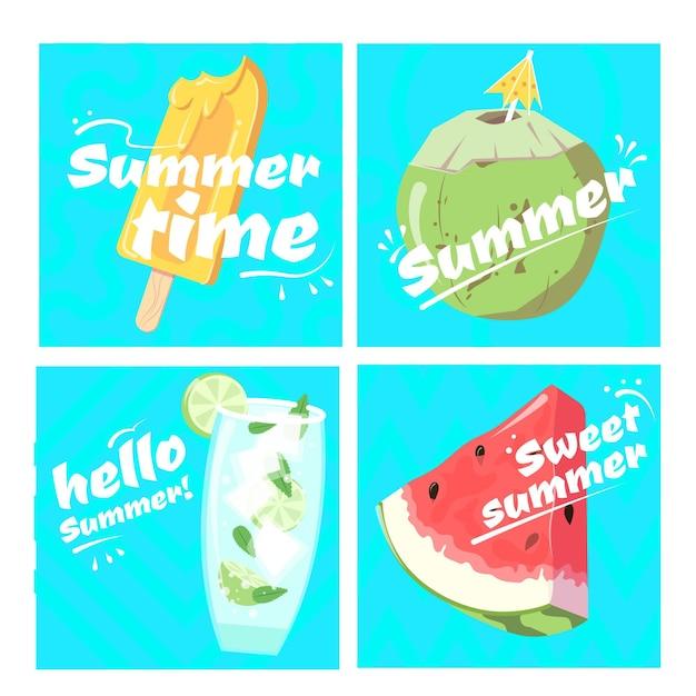 Collezione di carte estate disegnata a mano Vettore gratuito