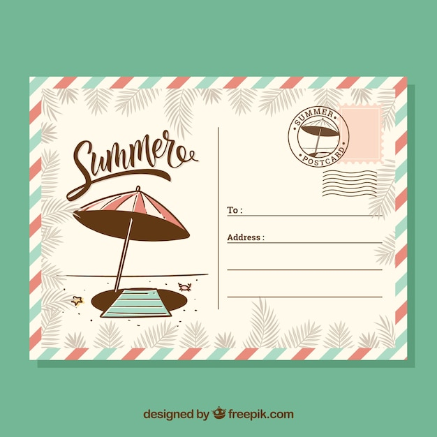 Hand drawn summer card template in retro style Free Vector