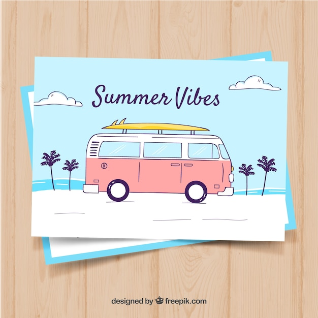 Hand drawn summer card template with retro bus Free Vector