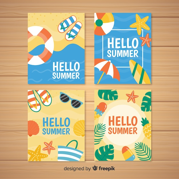 Hand drawn summer cards collection Free Vector
