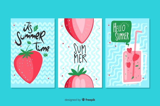 Hand drawn summer cards template Free Vector