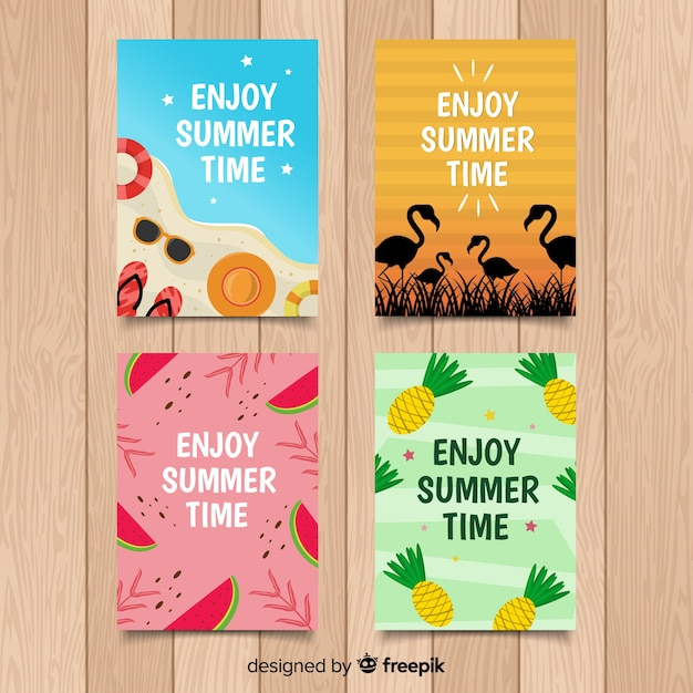 Hand drawn summer cards Free Vector