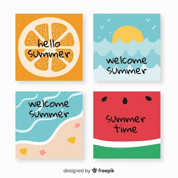 Ручной обращается летние карты Бесплатные векторы