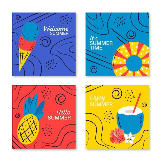 Carte estive disegnate a mano Vettore gratuito