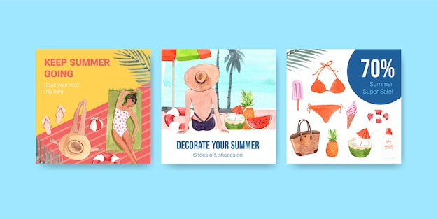 Hand drawn summer discount banner set Free Vector