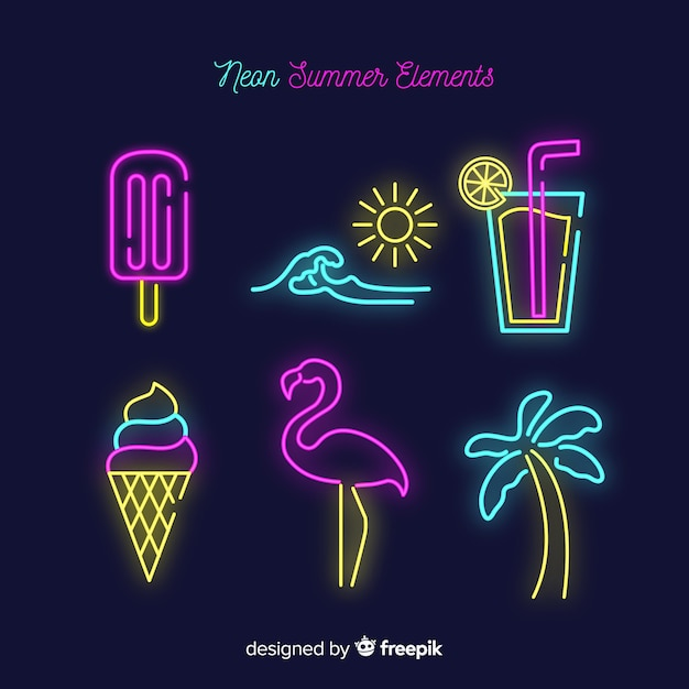 Hand drawn summer element collection Free Vector