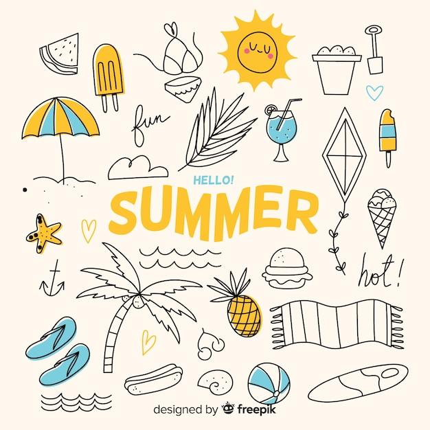 手描きの夏要素コレクション Premiumベクター