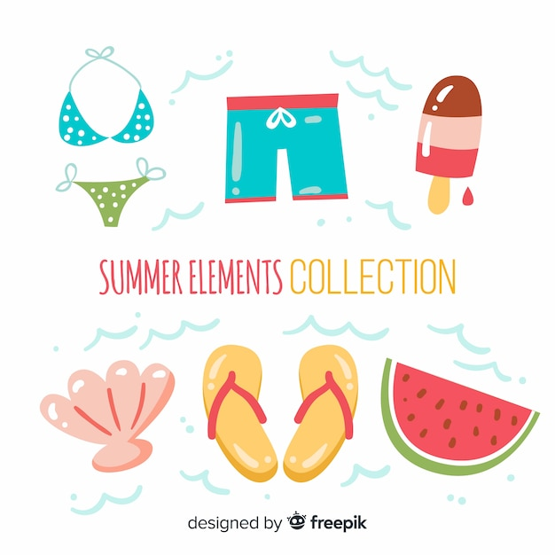 Hand drawn summer elements collection Free Vector