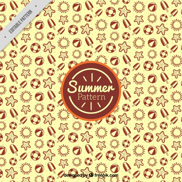 Hand drawn summer elements yellow pattern Free Vector