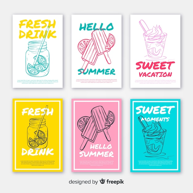 Hand drawn summer food card pack Free Vector