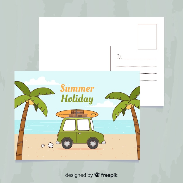 Hand drawn summer holiday postcard Free Vector