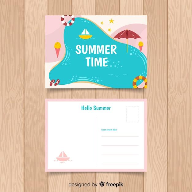 Hand drawn summer holiday postcard Free Vector