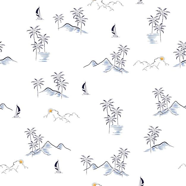 Hand drawn summer island tropical seamless pattern vector Premium Vector