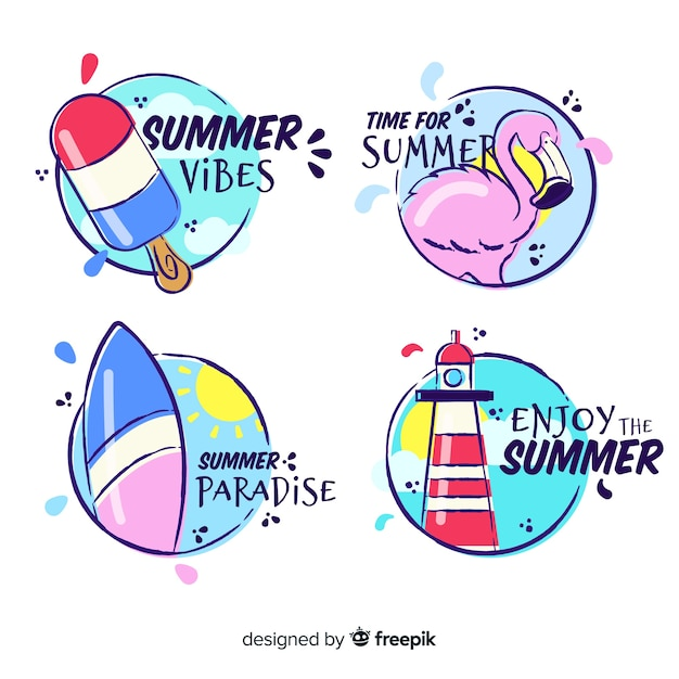 Hand drawn summer label collection Free Vector