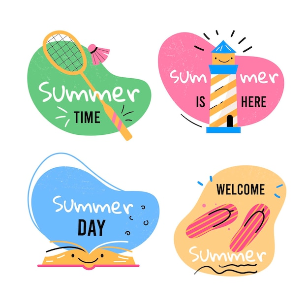 Hand drawn summer labels collection Free Vector