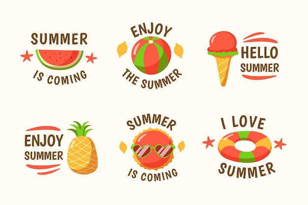 Hand drawn summer labels pack Free Vector
