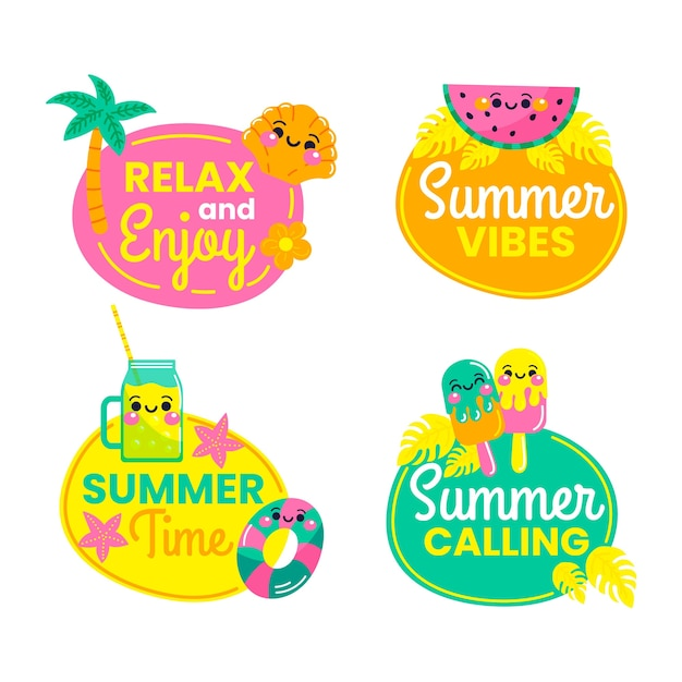 Hand drawn summer labels set Free Vector