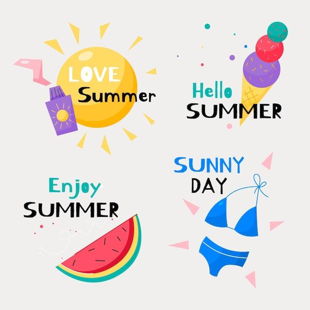 Hand drawn summer labels set Free Vector
