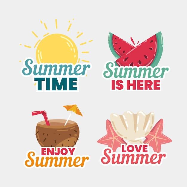 Stile di etichette estive disegnate a mano Vettore gratuito