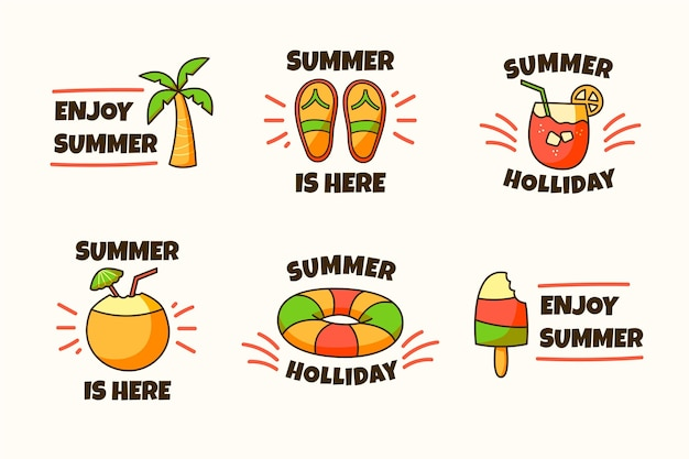 Hand drawn summer labels Free Vector