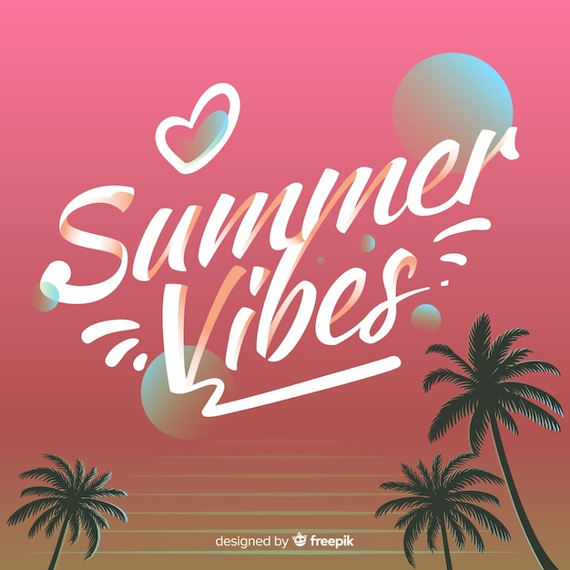 Hand drawn summer lettering background Free Vector