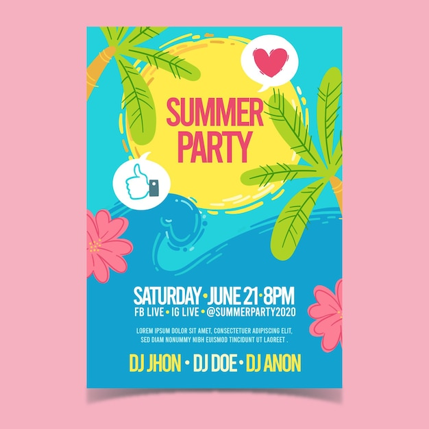 Hand drawn summer party flyer template Premium Vector