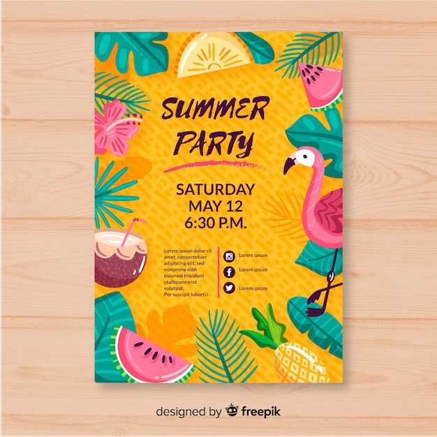 Hand drawn summer party poster template Free Vector
