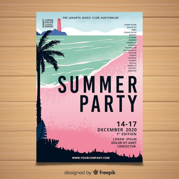 Hand drawn summer party poster Free Vector