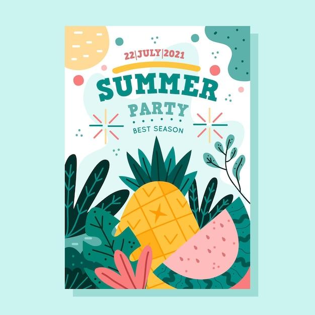 Нарисованный рукой плакат летней вечеринки Бесплатные векторы