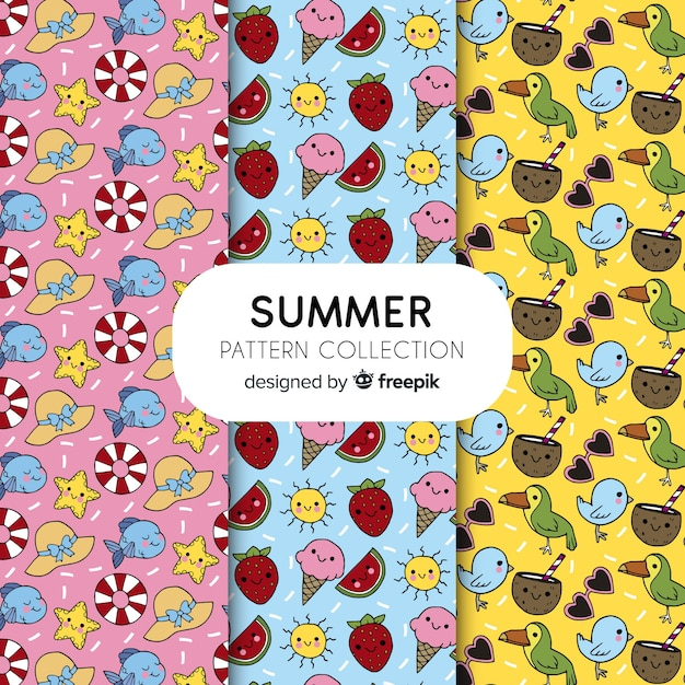 Hand drawn summer pattern collection Free Vector
