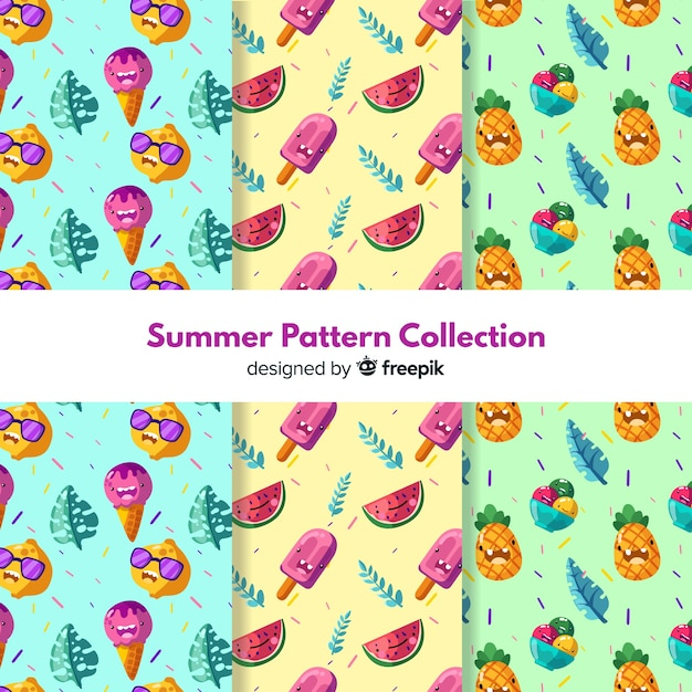 Hand drawn summer pattern pack Free Vector