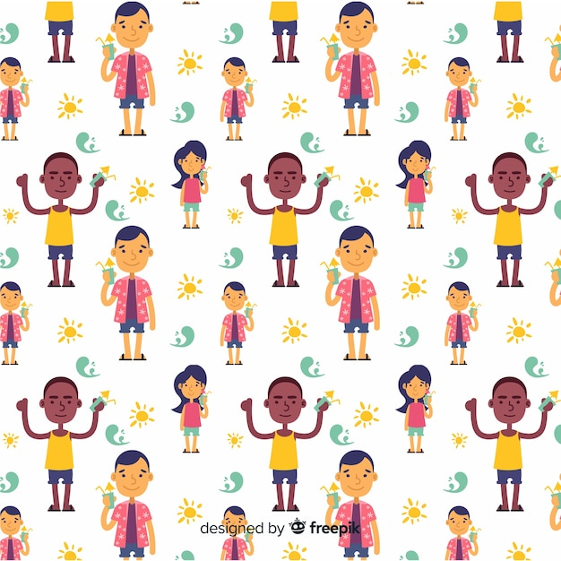 Hand drawn summer people pattern Free Vector