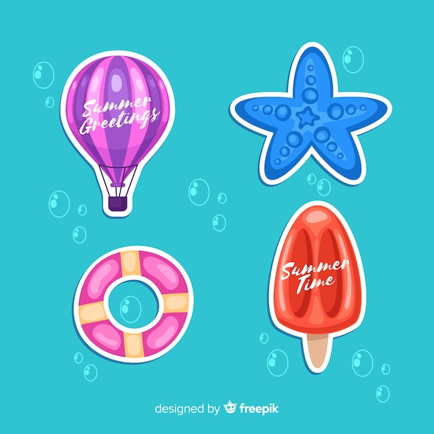 Hand drawn summer stickers pack Free Vector