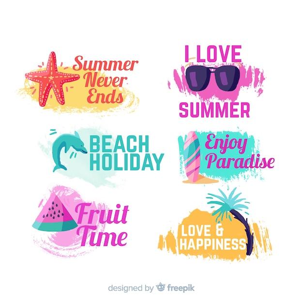 Hand drawn summer stickers set Free Vector