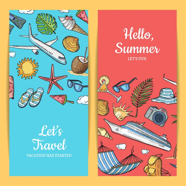 Hand drawn summer travel elements banner set Premium Vector