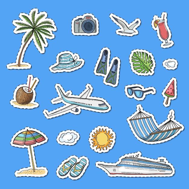 Hand drawn summer travel elements stickers set