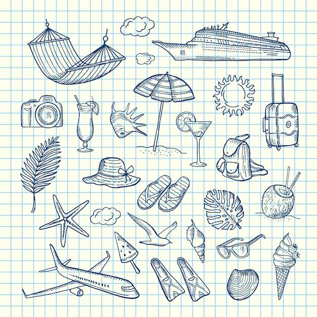 Hand drawn summer travel elements Premium Vector