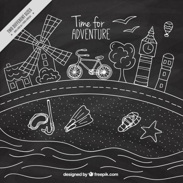 hand drawn summer trip in chalkboard effect vector
