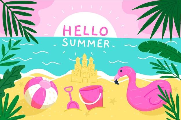 Concetto di carta da parati estate disegnata a mano Vettore gratuito