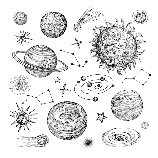 Hand drawn sun, planets, stars, comet, asteroid, galaxy. vintage astronomical vector illustration in engraving style Premium Vector