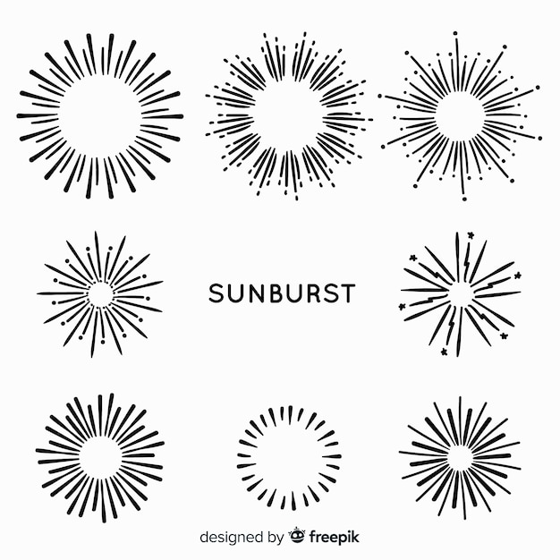 Hand drawn sunburst element collection Premium Vector